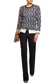 1b9732f191 Shop on-sale Tory Burch Tia intarsia-knit merino wool sweater. Browse other  discount designer Knitwear   more on The Most Fashionable Fashion Outlet