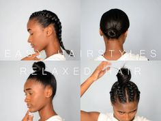 protective styles for relaxed hair 4 Easy Hairstyles in 4 Mins! Short Relaxed Hairstyles, Braided Hairstyles Updo, Cool Hairstyles, Updo Hairstyle, Braided Updo, Wedding Hairstyles, Protective Style Braids, Protective Hairstyles, Protective Styles