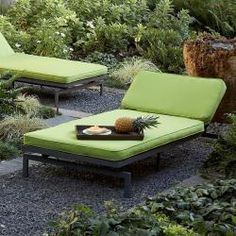 Alyssa Canvas Macaw Green Outdoor Chaise With Sunbrella Fabric Cushion