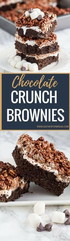 Chocolate Crunch Brownies – Brownies layered with marshmallow cream and chocolate peanut butter Krispies . Homemade killer crunch brownies are a family favorite. by lupe