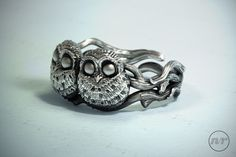 Baby Owls Ring, private commission for Monger Designs Bird Jewelry, Jewelry Design, Organic Sculpture, Owl Ring, Baby Owls, Zbrush, Sculpting, Wax, Sculptures