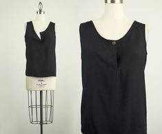 90s Vintage Black Slouchy Button Tank Top / Size Small by decades