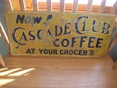 Vintage Cascade Club Coffee at Your Groger's Tin Lithograph Sign RARE Original | eBay