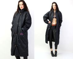 #Vintage #80's #Street #Style #Black #Cotton #Baggy #Long #Coat by #Ramaci on Etsy