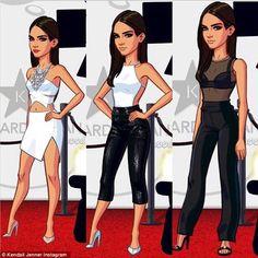 Kim Kardashian unveils Kendall and Kylie Jenner's digital looks Kim Kardashian Hollywood Game, Kardashian Style, Kim Game, Balmain Dress, Thing 1, Kendall And Kylie Jenner, Girls Rules, Celebs, Celebrities