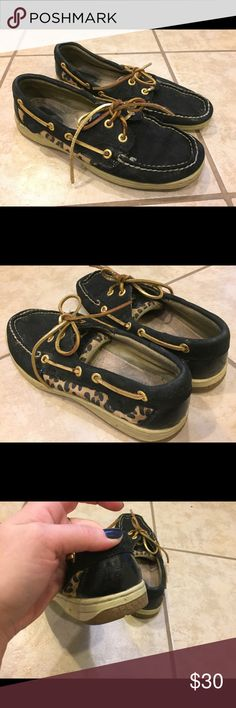 Sperry Boat Shoes size 7, used Leopard and black sperry Boat Shoes, size 7, used Sperry Top-Sider Shoes Flats & Loafers