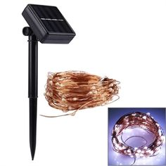 Solcellebelysning 10 m LED Lyskæde - Hvid Vandtæt