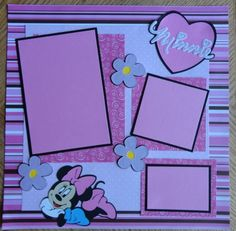 Disney Minnie Mouse Scrapbook Page 12 x 12 Baby Girl Scrapbook, Disney Scrapbook Pages, Birthday Scrapbook, Kids Scrapbook, Scrapbook Templates, Scrapbooking Ideas, Album Scrapbook, Scrapbook Background, Scrapbook Sketches