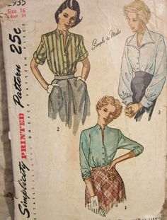 Vintage 1940s  Simplicity 2935 Sewing Pattern by desertcottage