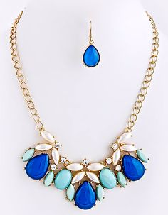 NEW:  Twinkle Bloom Multi Jewel Necklace Set $32.50 Free US Shipping www.popofchic.com