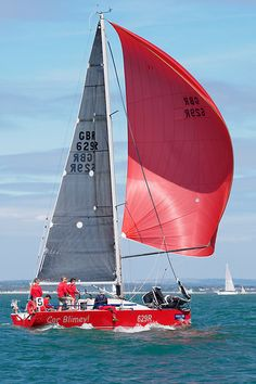 The Corby 29 yacht 'Cor Blimey' racing in the Solent during Cowes week.