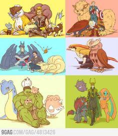 The Avengers as Pokemon Trainers. Anyone else notice how Banner got all the cite Pokemon? Pokemon Team, Pichu Pokemon, Pokemon Puns, Pokemon Comics, Pokemon Stuff, Pikachu, Loki, Thor, Pokemon Original