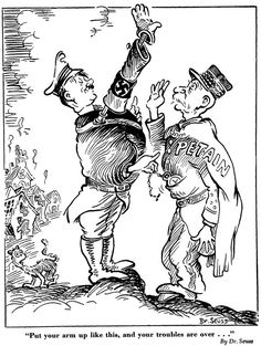 Artists who become famous for their children's work get relegated to the 'sunshine and candy' category of our minds. But it turns out Dr. Seuss had serious political bite. Political Satire Cartoons, History Cartoon, Satirical Illustrations, Funny Cartoons, Cartoon Humor, Civil War Photos, Military Art, Cartoon Styles, Sketches