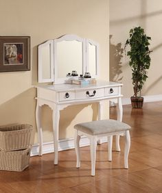 3 pc white finish wood make up bedroom vanity set tri-fold mirror. This set comes with the Vanity table with 3 drawers, tri-fold Mirror and the vanity stool. Some assembly required. Mirrored Vanity Table, Modern Vanity Table, Wooden Vanity, Contemporary Vanity, Vanity Stool, Table Mirror, White Vanity Set, Vanity Set With Mirror, Dresser With Mirror