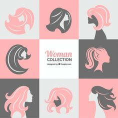 Collection of women silhouettes Premium Vector Cosmetic Design, Beauty Logo, Woman Silhouette, Vector Pattern, Logo Inspiration, Logos, Vector Free, Photoshop, Illustration