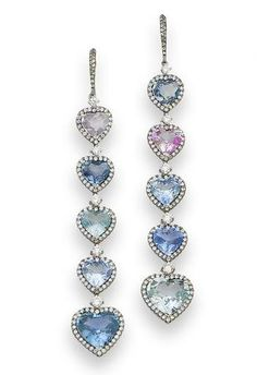 A pair of sapphire and diamond pendent earrings Each articulated drop set with five graduated heart-shaped sapphires, of various tints, within brilliant-cut diamond surrounds and suspended from diamond-set hook surmounts, diamonds approximately 1.80 carats total