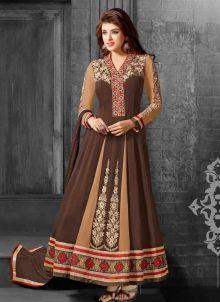 #Brown #Latest_Fashion #Indian #Georgette #Anarkali_Dress