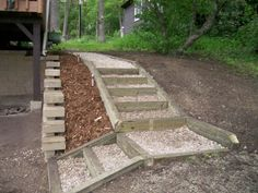 retaining wall ideas | Retaining Wall, Retaining wall and stairs, Front view, wooden stair ...