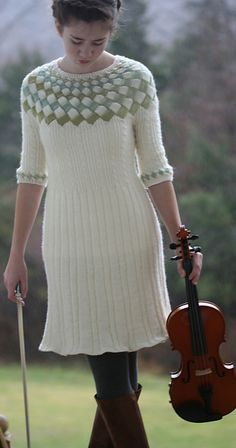 Cecilia's Song #entrelac cable sweater #dress pattern by Carol Wells