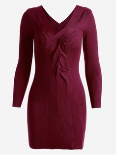 Twisted V Neck Knitted Dress - WINE RED ONE SIZE