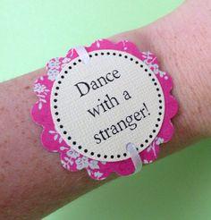 Bachelorette Party Game Bracelets - Pink Floral Print Decorations - set of 12 w/ bonus - customizable for Birthdays on Etsy, $7.50
