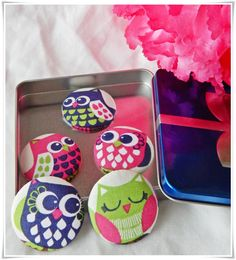 Retro Blue, Pink, & Green Owl Fabric Button Refrigerator Magnets Set of 5
