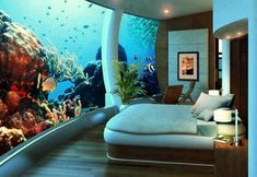 Um can they hurry up and open this already?! Talk about an amazing view! Underwater hotel | Exotic Places | Fish | Tropical | Vacation