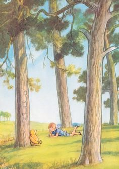 Antique Print featuring Classic Pooh Bear sitting up against a tree, whiling away the day, Christopher Robin is there reading.