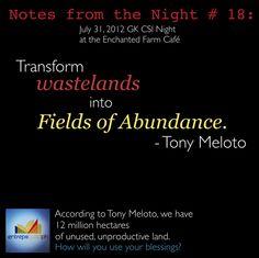 Transform wastelands into Fields of Abundance.