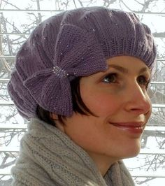 Free Knitting Pattern for Glimmer Beret Hat with Bow - A bow and optional beads dress up Erron Anderson's easy beret.