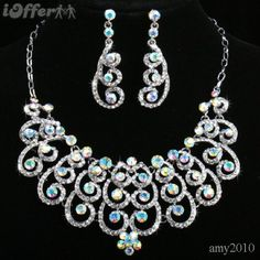 diamond necklace with earring sets - Google Search