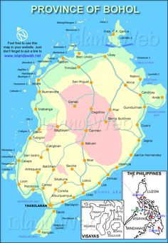 Cool Map of Bohol Province, Philippines. pic #Bohol, #Philippines