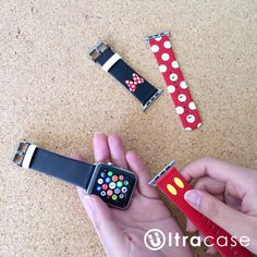 Minnie Apple Watch Strap Band ( 38 mm , 42 mm ) The Design is inspired by Minnie :) Band Material: 100% real , thin, soft , durable leather. Adapter Material: High Quality Stainless Steel / Space Grey / Yellow Gold / Rose Gold (Any 1 pair ) Delivery Time : For US orders: Standard Shipping: 7-14 business days Express Shipping: 3-5 business days For non-US orders: Standard Shipping: about 10-21 business days Express Shipping: 3-7 business days ALL in stock and ready to ship out. Two Size…