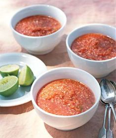 41 Easy Vegetarian Recipes: gazpacho is a staple of Spanish cuisine, a thick, tomato-based soup garnished here with limes.