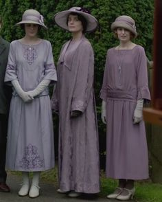 Downton Abbey, Cora, Mary and Edith - attending christening in half-mourning, which is 6 months after mourning started