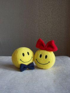 Small toy Smiley Smiley face round yellow smile by PillowsRollanda