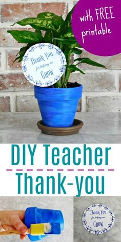 DIY Painted Planter Teacher Appreciation Gift with Printable Card - Unique Gifter Christmas Presents For Teachers, Teacher Christmas Gifts, Teacher Gifts, Christmas Diy, Holiday, Teacher Thank You, Thank You Gifts, Homemade Gifts, Diy Gifts