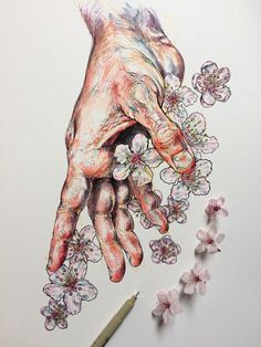 Sc: @ noelbadgespugh Hand and flowers illustration. Drawing Eyes, Painting & Drawing, Woman Drawing, Person Drawing, Art Sketches, Art Drawings, Pencil Drawings, Hand Kunst, Art Du Croquis