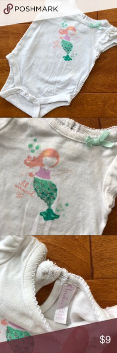Lil mermaid Cherokee onesie newborn Gently used. Worn once or twice. No stains.   Bundle 5, get 30% off, FREE shipping and toy.  Bundle 10, get 50% off, FREE shipping and toy. Cherokee One Pieces Bodysuits