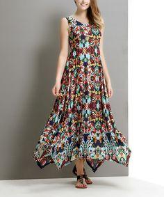 This Aqua Paisley Handkerchief Maxi Dress is perfect! #zulilyfinds