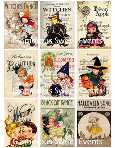 Vintage Halloween Cards - Instant Download - ACEO Printable Collage Sheet - Glamorous Sweet Events