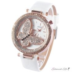 Damen Armbanduhr 3D Schmetterling mit Zirkonias  Rosegold...