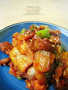 Korean Dishes, Korean Food, Korean Recipes, Chicken Wings, Meat, Cooking, Drink, Kitchen, Beverage