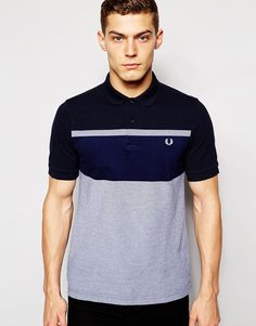 Image 1 of Fred Perry Polo Shirt with Block Stripe in Navy