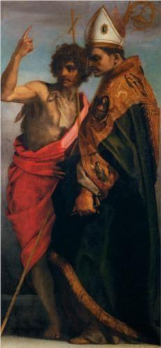 Sts John the Baptist and Bernardo degli Uberti - Andrea del Sarto.  1528.  Tempera on wood.  184 x 172 cm.  Galleria degli Uffizi, Florence, Italy.