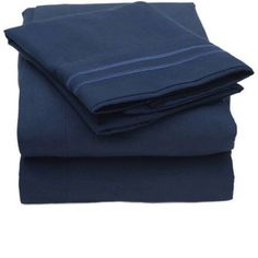 Madame Marie 1500 Thread Count Contemporary Microfiber Bedroom Solid Color Bed Sheet Set, Blue