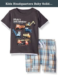 Kids Headquarters Baby Solid Jersey Tee and Woven Plaid Shorts, Brown, 24 Months. 2 pieces set - solid jersey tee with cargo shorts.