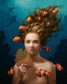 Surrealist Paintings by Steven Kenny. Mermaids And Mermen, Art Textile, Mermaid Art, Whimsical Art, Surreal Art, Art Images, Fantasy Art, Cool Art, Contemporary Art