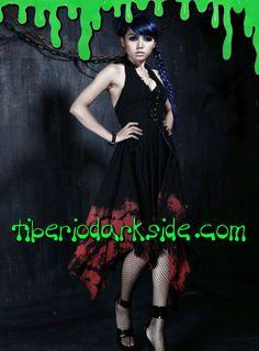 Tiberio Dark Side. - Vestido Halter Teñido Sangre