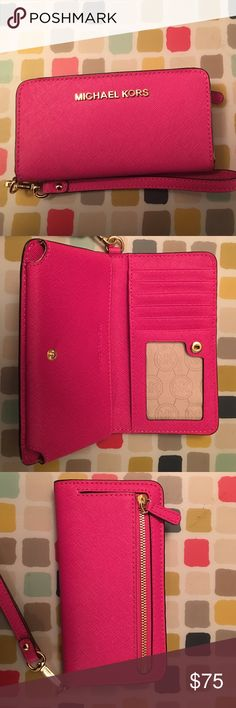 c24894b387b9 Micheal Kors Phone Case Wristlet Pink Leather Barely worn, can be used as a  wallet
